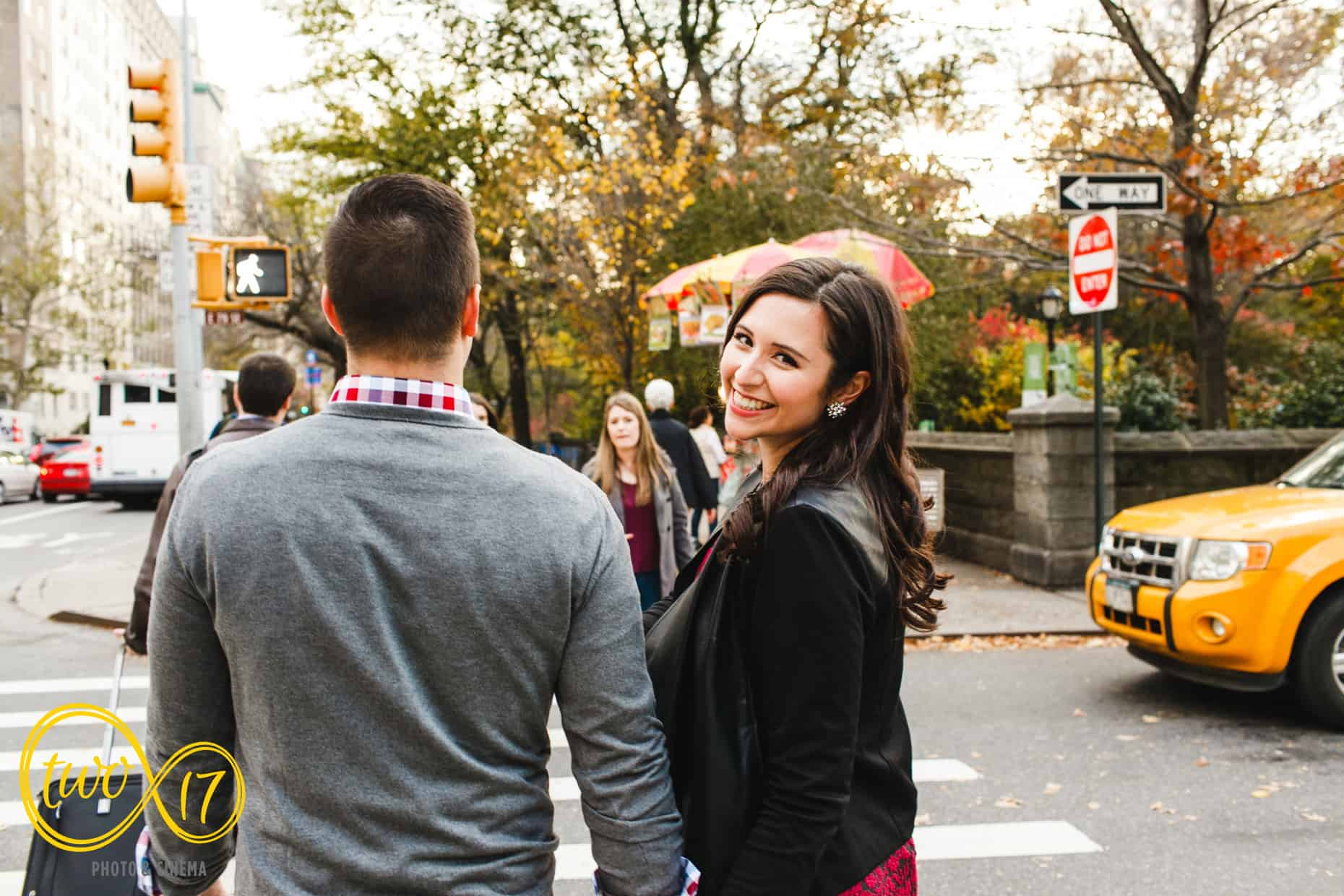 Central Park Engagement Photos in the fall