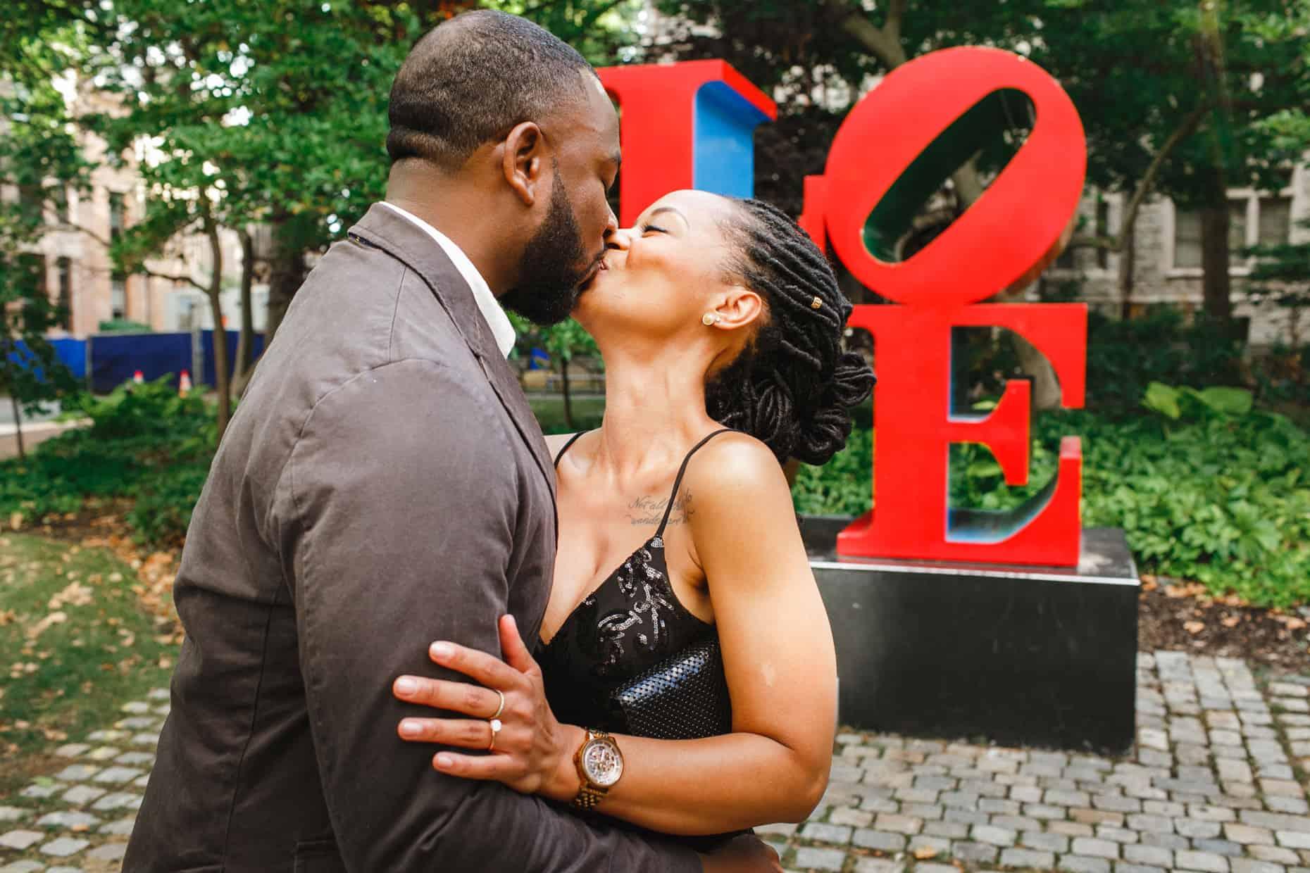 Philadelphia Love Statue Engagement