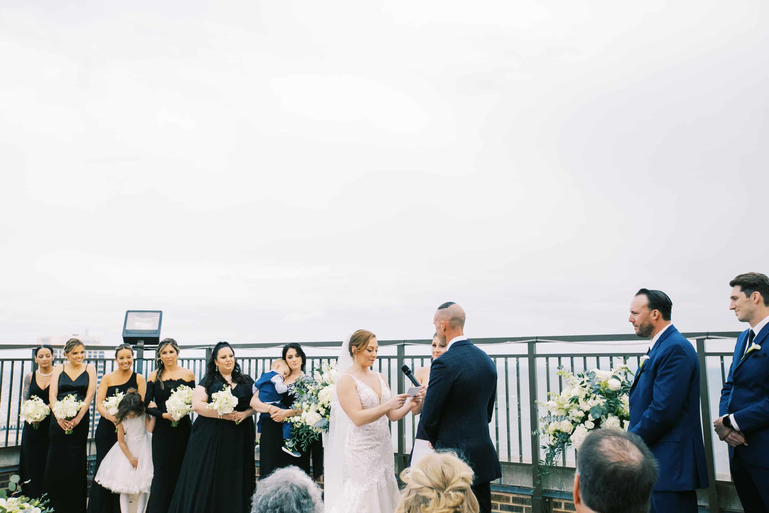 Rooftop wedding photos at Claridge Hotel in Atlantic City