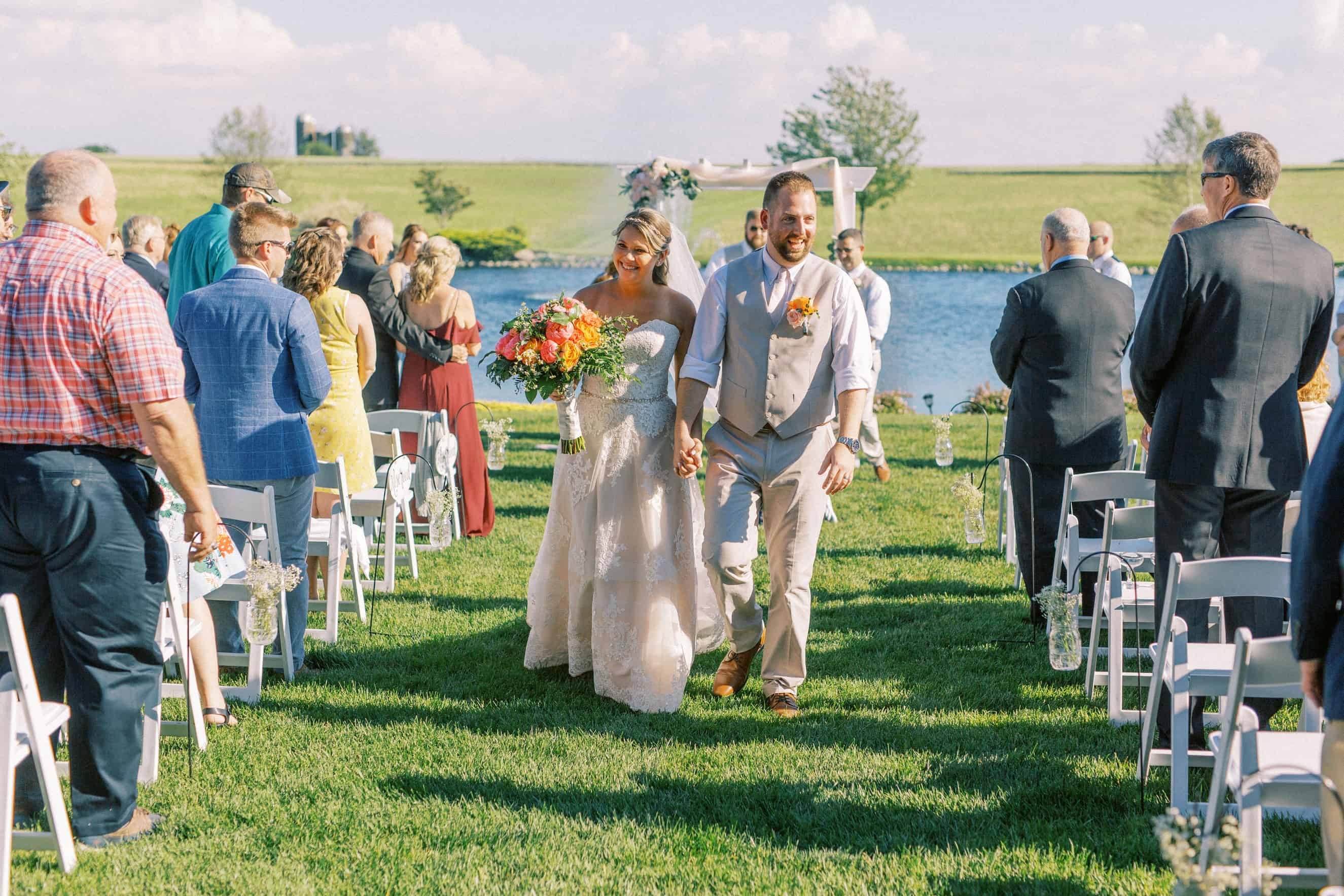 Outdoor wedding ceremony photos at Harvest View Barn at Hershey Farms