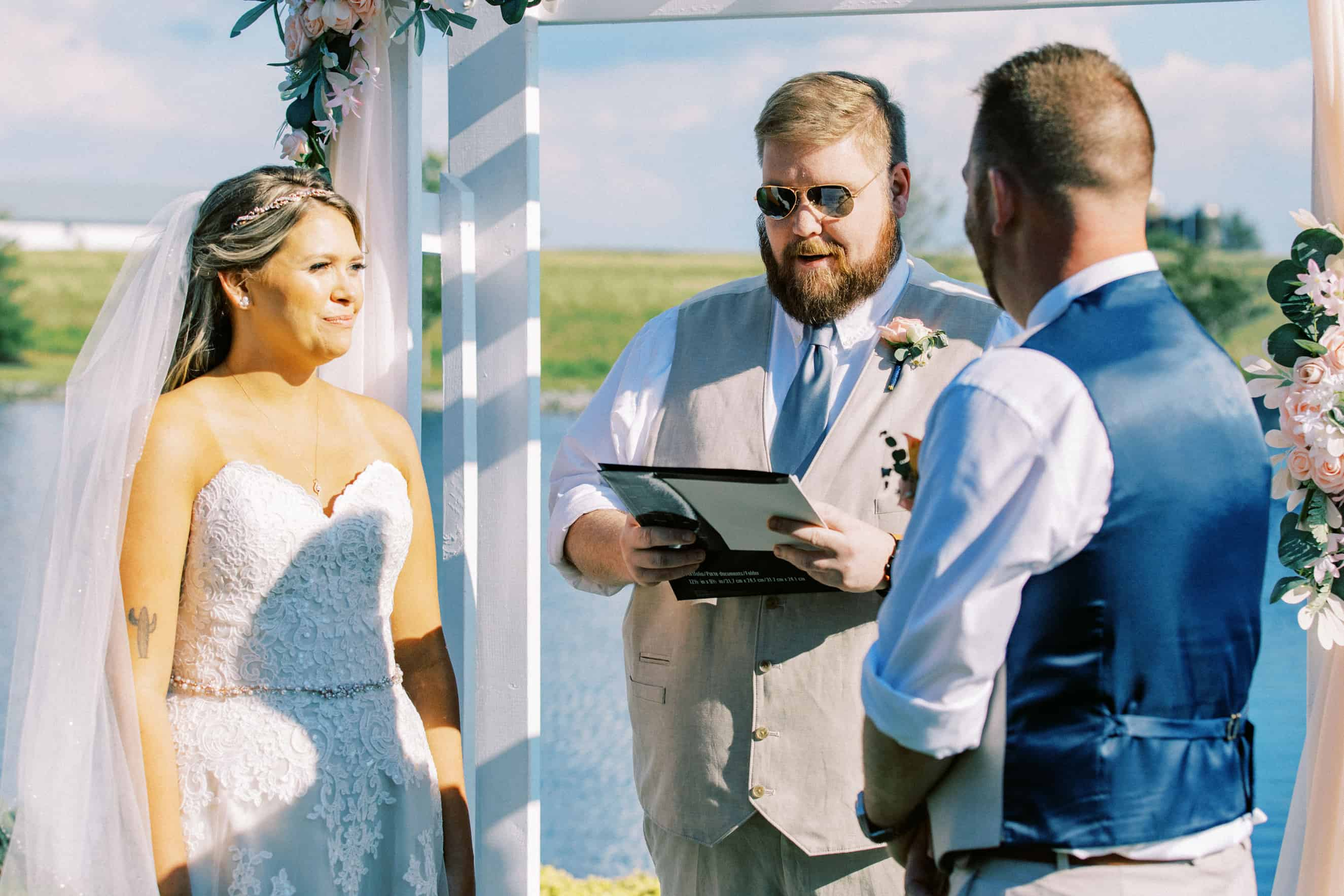 Outdoor wedding ceremony Harvest View Barn at Hershey Farms