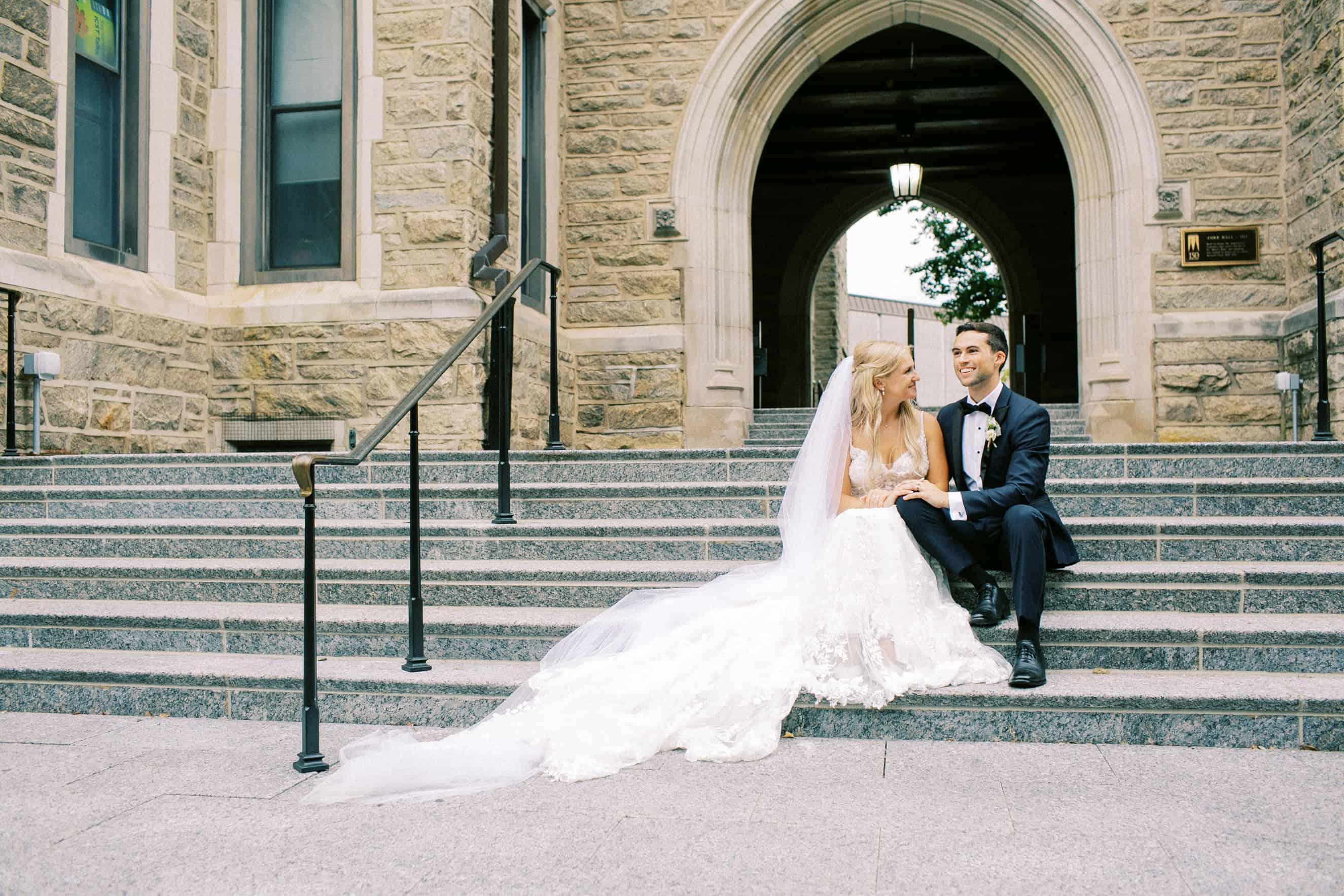 Wedding photography on campus at Villanova