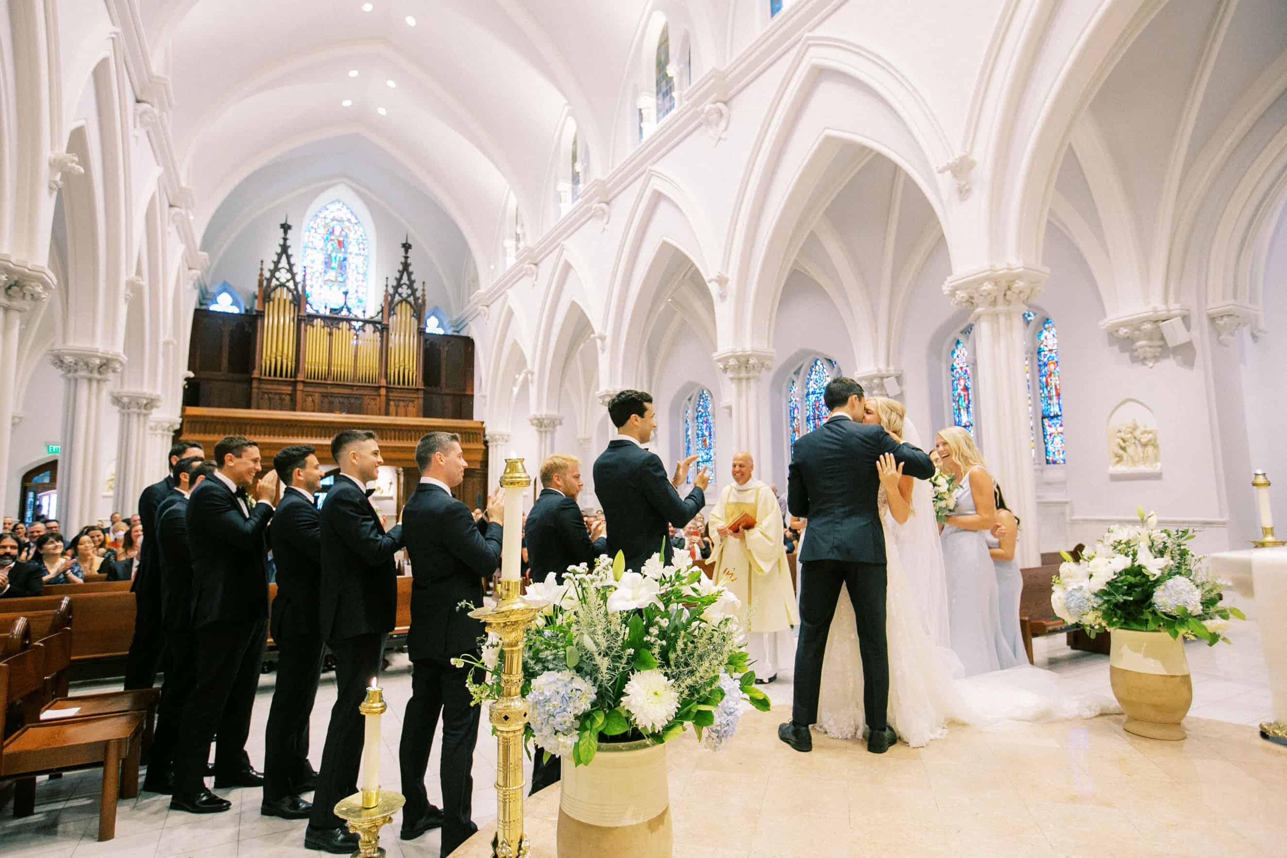 First Kiss Villanova Wedding